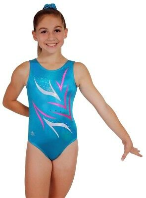(Child Large (small 8-9 year old), Turquoise) - Uplifting Tank Leotard - Red