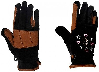 (Small, Black/Brown) - Riders Trend Kids Riding Fleece Gloves. Free Delivery