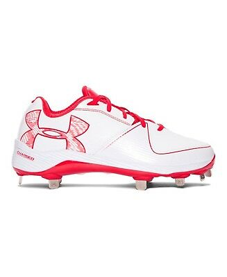 (7 B(M) US, White/Red) - Under Armour Women's Glyde 2.0 ST Softball Cleats