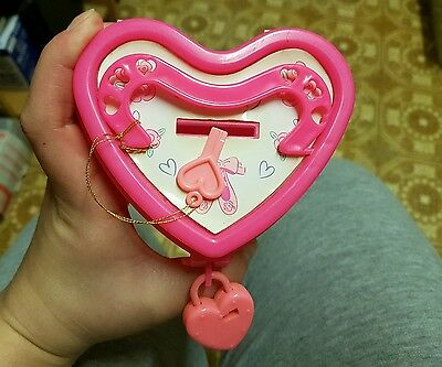 Barbie pink heart money box 1994 lock and key still  work know damage vintage