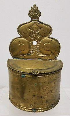 Antique Unusual Brass Wall Pocket Hanging Container Tin Lined
