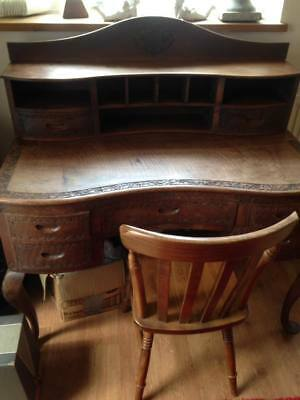 carved solid wood writing desk ,bureau , character, 7 draw ,pigeon hole,features