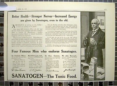 1917 Sanatogen Quack Medical Health Doctor Tonic Cure Nerve Chemist  Fd0Fd029