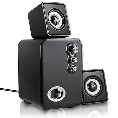 Computer Speakers 2.1 USB 3.5 Multimedia PC Laptop Desktop System With Subwoofer