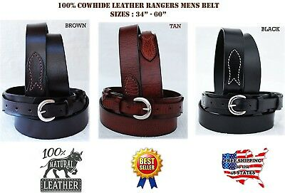 41-42 PRORIDER Mens Western LEATHER RANGER BELT 2.5cm - 1.3cm Brown 26Ranger07