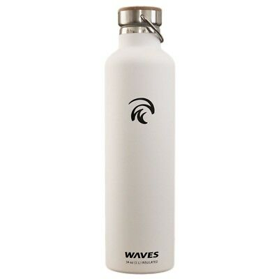 (1 Litre, White) - Waves Gear Dual Pane Stainless Steel Insulated Water
