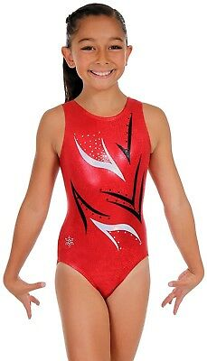 (Child Medium (small 6-7 year old), Red) - Uplifting Tank Leotard - Red or