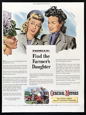 1947 Vintage Print Ad 40's GENERAL MOTORS GM Country City Girls Illustration