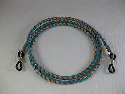 """32"""" EXTRA LONG BRAIDED TURQUOISE & TAN Leather Eyeglass Cord Adj End~Holder USA"""