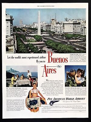 1947 Vintage Print Ad 40's Buenos Aires Pan American Am Airlines Image Airplane