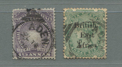 British East Africa 2 stamps used in Aden 1895/96