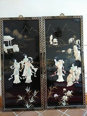 Pair Large Vintage Chinese Black Lacquer Plaques With Mother Of Pearl Scenes