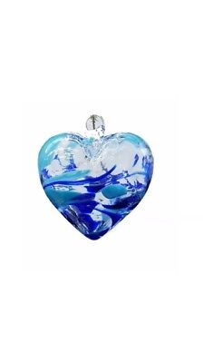 Milford Collection Hand Made Glass March Aquamarine Birthstone Heart Hand Made