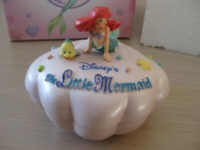 Disney Japan Ariel Little Mermaid Trinket Box Figure Pink Shell Flounder