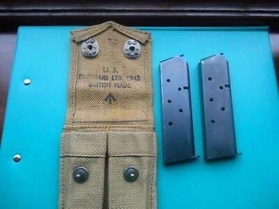 Genuine Ww2 Usgi 1911 45  Brit Made Mag Pouch+ 2X 7/8 Round Mags + 1