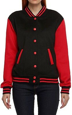 (X-Large, Red) - Meaneor Women's Long Sleeve Baseball Jacket Coats Outerwear