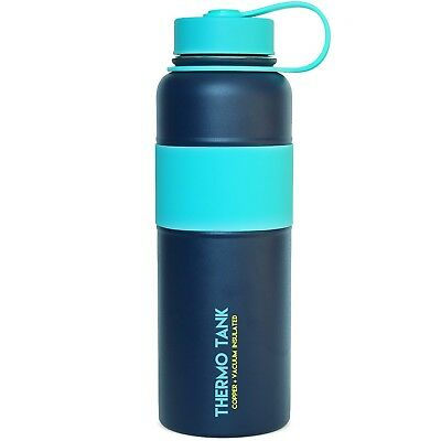 (1180ml, Navy + Mint) - Thermo Tank Insulated Stainless Steel Water Bottle -