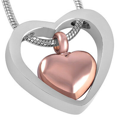 Cremation Jewellery for Ashes Funeral Ash Pendant Bronze & Silver Heart Necklace