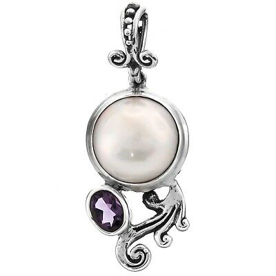 Amethyst White Mabe Cultured Pearl Bali Scrollwork 925 Sterling Silver Pendant
