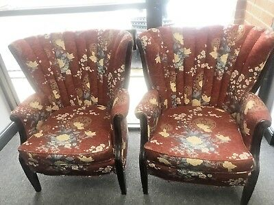 Beautiful Set of 2 Oriental Wingback Style Arm Chairs With Rust Color Fabric