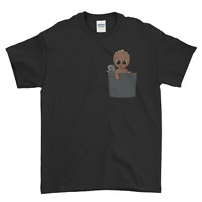 Pocket Design Baby Groot Guardians Of The Galaxy Boys Men T Shirt Top Tee