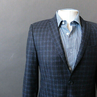 Princeton Boys Collection Blue Plaid Wool Sport Coat Blazer Jacket 19R Italy 19R