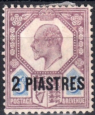 1905 BRITISH LEVANT KEVII 2pi on 5d DULL PURPLE & ULTRAMARINE (SG# 14) MH VF