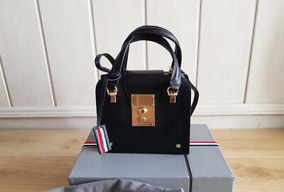 Auth Mini doctor Thom Browne Black Leather Mrs. Thom Bag Grain Tote Briefcase