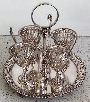 CHARLES TRUMAN BURROWS Antique Silver Egg Cup Holder & Spoons Hearts Fine