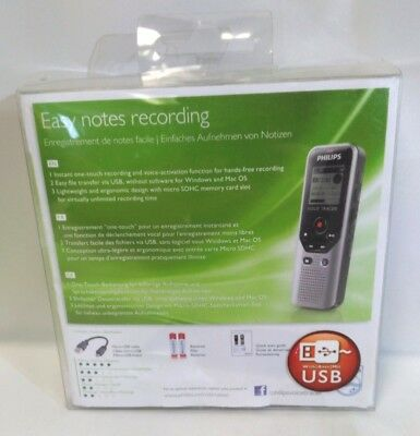 New! Philips Easy Notes Recording Speech 4 GB Voice Tracer 1200 Digital Recorder