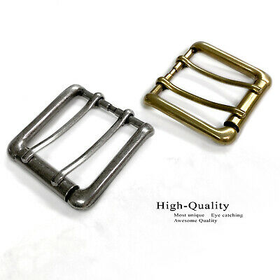 """Antiqued Finish Double Prong Replacement Roller Belt Buckle, Fits 1-1/2"""" wide"""