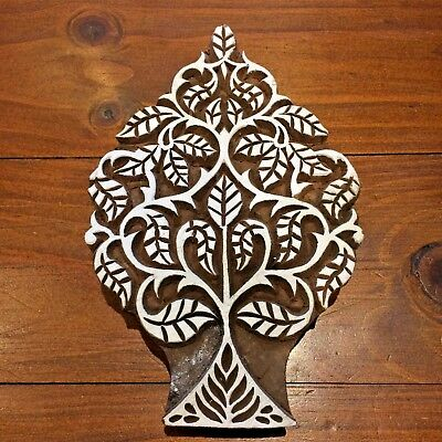 Large Tree Swirly Leaves Indian Wooden Printing Block, 17.5 x 11 cm Hand Carved