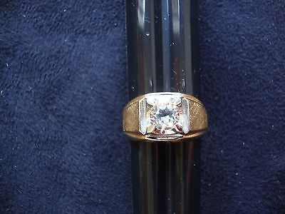 Vintage Retro Mens Cz 18K Yellow Heavy Gold Electro Plated Ring Sz 10