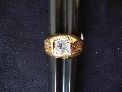 Vintage Retro Mens Cz 18K Yellow Heavy Gold Electro Plated Ring Sz 9
