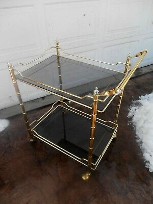 Vintage 1960's Brass and Glass Serving Bar Cart Mid-Century Modern Faux Bamboo