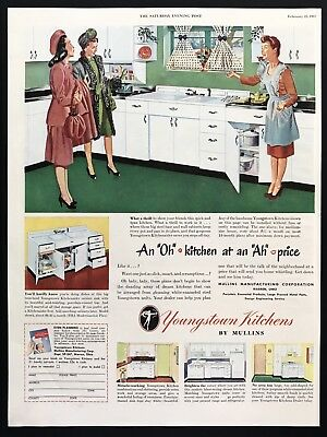 1947 Vintage Print Ad 40's YOUNGSTOWN Kitchen Illustration Mid Century Modern
