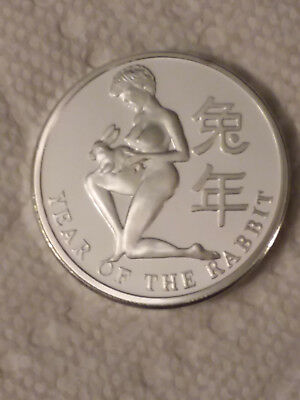 Nude Busty Woman Lady .999 Silver Clad Coin Round Year Of The Rabbit 100 Mils