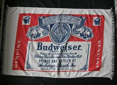 Budweiser Vintage Beach Towel 1970s Full Label Bud King Of Beers Collectible