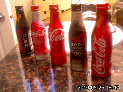 2010 Coca Cola Vancouver Olympic Aluminum 5 EMPTY bottles Set Rare -- Limited Ed