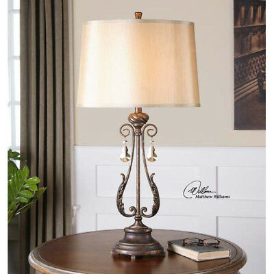Old World French Distressed Oil Rubbed Bronze Table Lamp