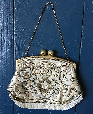 Antique Vintage Evening Bag Cocktail Handbag French Hand Made Beaded Wedding