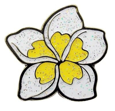 Navika Plumeria White Glitzy Golf Ball Marker With Hat Clip. Free Delivery