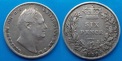 1837 William IV Silver Sixpence (F)
