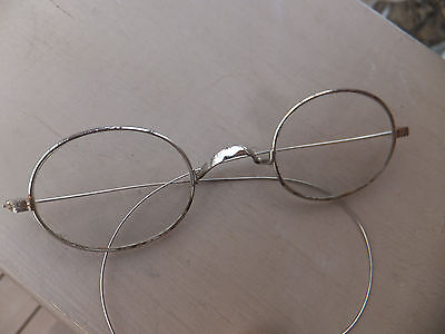 Vintage Antique Wire Rim Granny Oval Shaped Glasses With Case