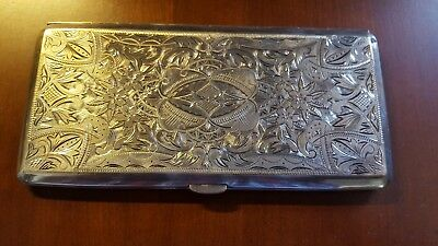 Vintage Sterling Silver .950 Cigarette Case With Etching