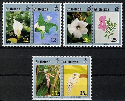 St Helena 1994, Flowers and paintings, Full set MNH in pairs, Sc# 616-18