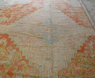 "17'6"" x 19' Phenomenal Antique Oushak Turkish Hand-Knotted 100%Wool Oriental Rug"