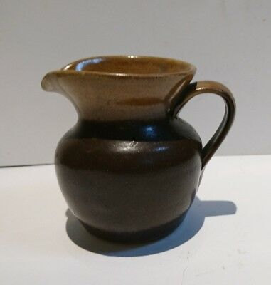 Abaty Welsh Stoneware Pottery Small Miniature Milk Jug Half Glazed Brown and Tan