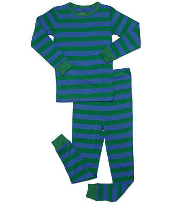 Leveret Boys Blue & Green Striped Pajama Set 100% Cotton (Size 6M-14Y)