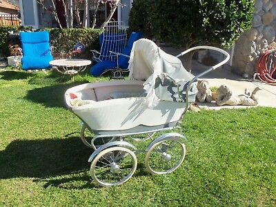Vintage Blue Baby Buggy Carriage Pram !!!! Pick Up Only!!!!!